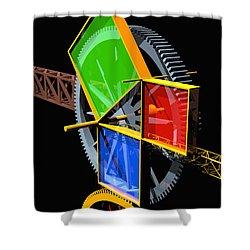 Pythagorean Machine Portrait 2 Shower Curtain by Russell Kightley