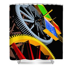 Pythagorean Machine Portrait 4 Shower Curtain by Russell Kightley