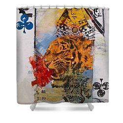 Shower Curtain featuring the painting Queen Of Clubs 4-52  2nd Series  by Cliff Spohn