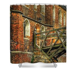 Queens' College And Mathematical Bridge Shower Curtain by Yhun Suarez