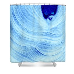 Query Blue Shower Curtain by Jamie Lynn