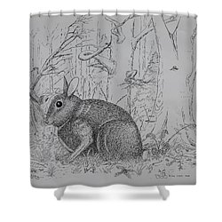 Rabbit In Woodland Shower Curtain