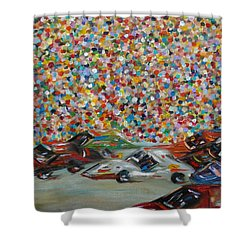 Shower Curtain featuring the painting Race Day by Judith Rhue