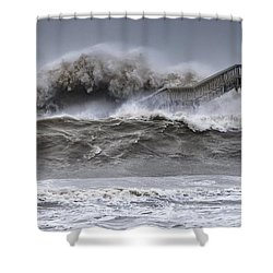 Raging Black Sea Shower Curtain by Evgeni Dinev