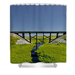 Railroad Trestle Shower Curtain by Roderick Bley