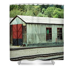 Railroad Woodshed 2 Shower Curtain by Holly Blunkall