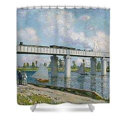 Railway Bridge At Argenteuil Shower Curtain by Claude Monet