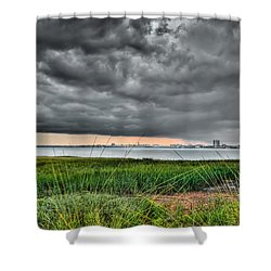 Rain Rolling In On The River Shower Curtain