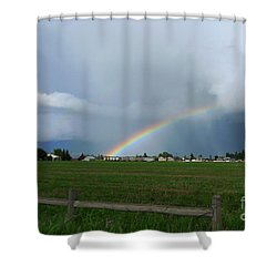 Shower Curtain featuring the photograph Rainbow Before The Storm by Nina Prommer