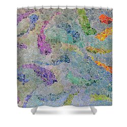 Rainbow Fish Mosaic Tile Abstract Shower Curtain by Debbie Portwood