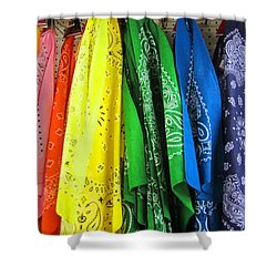 Rainbow Full Of Bandanas Shower Curtain by Kym Backland