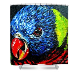 Shower Curtain featuring the painting Rainbow Lorikeet Look by Julie Brugh Riffey