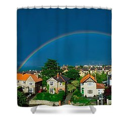 Rainbow Over Housing, Monkstown, Co Shower Curtain by The Irish Image Collection