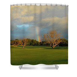 Shower Curtain featuring the photograph Rainbow Over Princeville by Lynn Bauer
