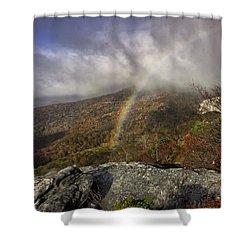 Rainbow Over Rough Ridge - Nc Autumn Scene Shower Curtain by Rob Travis