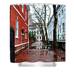 Rainy Philadelphia Alley Shower Curtain by Bill Cannon