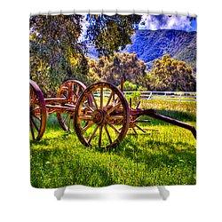 Rancho Oso Wagon Shower Curtain by Bob and Nadine Johnston