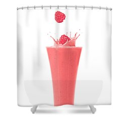 Raspberry And Strawberry Smoothie Shower Curtain by Amanda Elwell