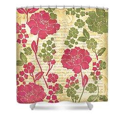 Raspberry Sorbet Floral 1 Shower Curtain by Debbie DeWitt
