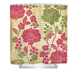 Raspberry Sorbet Floral 2 Shower Curtain by Debbie DeWitt