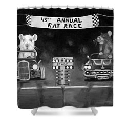 Rat Race Black And Wht Darker Tones Shower Curtain by Leah Saulnier The Painting Maniac