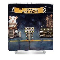 Rat Race Darker Tones Shower Curtain by Leah Saulnier The Painting Maniac