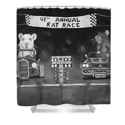 Rat Race In Black And White Shower Curtain by Leah Saulnier The Painting Maniac