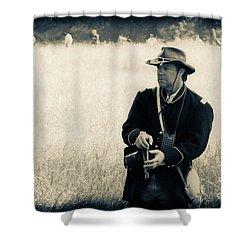 Ready The Revolver Shower Curtain by Kim Henderson