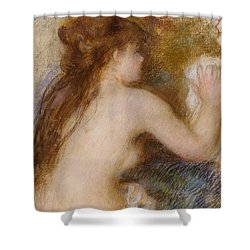Rear View Of A Nude Woman Shower Curtain by Pierre Auguste Renoir