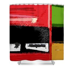Red And Green Square Shower Curtain by Naxart Studio