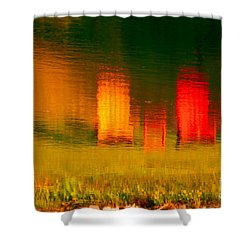 Shower Curtain featuring the photograph Red And Orange Chairs by Les Palenik