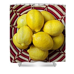 Red And White Basket Full Of Lemons Shower Curtain by Garry Gay