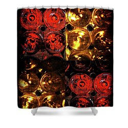 Red And White Wine Collage Shower Curtain by Joan  Minchak
