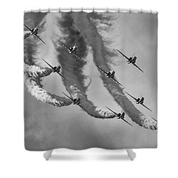 Red Arrows Black And White Shower Curtain