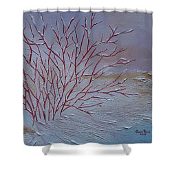 Red Branches Shower Curtain by Judith Rhue