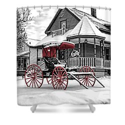 Shower Curtain featuring the photograph Red Buggy At Olmsted Falls - 2 by Mark Madere