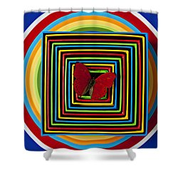 Red Butterfly In Nested Boxes  Shower Curtain by Garry Gay