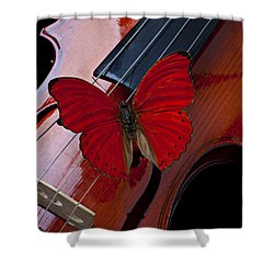 Red Butterfly On Violin Shower Curtain by Garry Gay