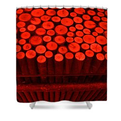 Red Circle Sticks Shower Curtain by Kym Backland