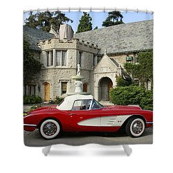 Red Corvette Outside The Playboy Mansion Shower Curtain