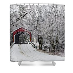 Red Covered Bridge In The Winter Shower Curtain by David Chapman