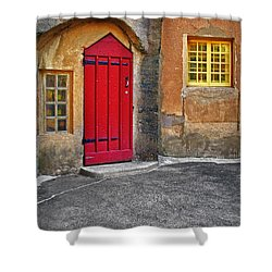 Red Door And Yellow Windows Shower Curtain by Susan Candelario