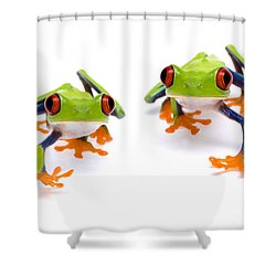 Red-eyed Treefrogs Walking Shower Curtain by Mark Bowler and Photo Researchers