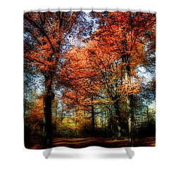 Red Fall Shower Curtain by Hannes Cmarits