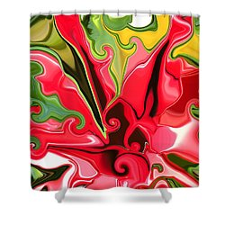 Red Fantasy Lily Shower Curtain by Renate Nadi Wesley
