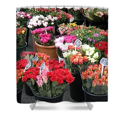 Shower Curtain featuring the photograph Red Flowers In French Flower Market by Carla Parris