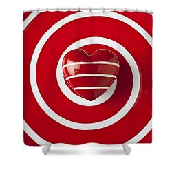Red Heart Soft Stone Shower Curtain by Garry Gay