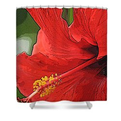 Shower Curtain featuring the photograph Red Hibiscus by Donna  Smith