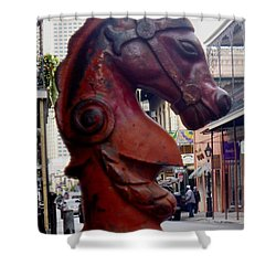 Shower Curtain featuring the photograph Red Horse Head Post by Alys Caviness-Gober