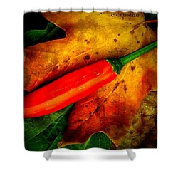 Red Hot Chili Pepper Shower Curtain by Chris Berry